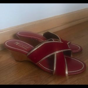 Vintage Red Velvet Slip On Merry Mules